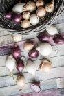 Verschiedene Zwiebelsorten mit Korb — Stockfoto