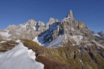 Italy, Trentino, Dolomites, Passo Rolle, mountain group Pale di San Martino with Cimon della Pala — Stock Photo