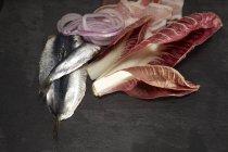 Sardinas crudas, radicchio, tocino y aros de cebolla - foto de stock