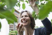 Happy woman eating apple at tree — Stock Photo