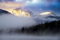 Canada, Jasper National Park, Jasper, Pyramid Mountain, Patricia Lake in the morning fog — Stock Photo