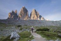 Female hiker in Dolomites — Stock Photo
