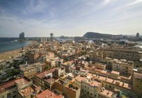 Spain, Barcelona, aerial view of La Barceloneta district — Stock Photo