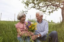 Happy senior couple with bunch of flowers in meadow — Stock Photo