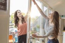 Duas mulheres limpando a janela juntas — Fotografia de Stock