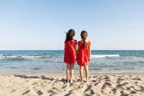 Задній вид дві маленькі сестри, стоячи на waterside на пляжі, дивлячись на море — стокове фото