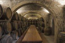 Vista interior de barris de vinho na adega — Fotografia de Stock