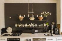 View of modern Kitchen interior at flat — Stock Photo