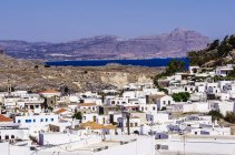 Greece, Aegean Islands, Rhodes, View to Lindos during daytime — Stock Photo