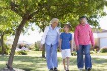 Dos mujeres mayores paseando con el niño en el Parque - foto de stock