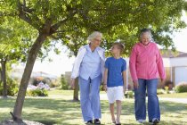 Two senior women walking with boy in park — Stock Photo