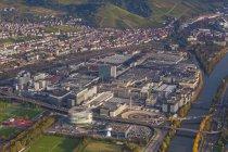 Germany, Baden-Wuerttemberg, Stuttgart, aerial view of Mercedes-Benz headquarters — Stock Photo