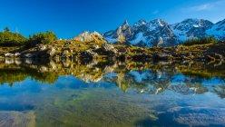 Germany, Bavaria, Allgaeu, View from Gugg lake to Allgaeu Alps, Central main ridge, Panorama — Stock Photo