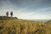 Österreich, Tirol, Tannheimer Tal, junges Paar, Wandern — Stockfoto
