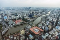 Vietnam, Ho Chi Minh City, cityscape with Saigon River seen from Bitexco Financial Tower — Stock Photo