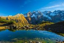 Германия, Бавария, Альгау, вид из замечательное озеро Альпы Альгау, Центральный главный хребет — стоковое фото
