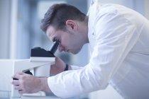 Scientifique regardant à travers le microscope optique en laboratoire — Photo de stock