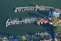 Germany, Bavaria, Lake Constance, Lindau, aerial view of marina — Stock Photo
