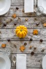 Autumnal laid table with yellow pumpkin, chestnuts and acorns — Stock Photo