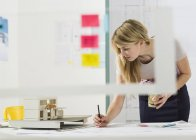 Young female architect working at desk — Stock Photo