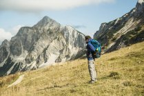 Austria, Tyrol, Tannheimer Tal, hiker with backpack on alpine meadow — Stock Photo