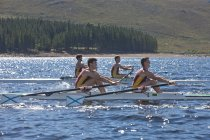Two double scull rowing boats in water — Stock Photo