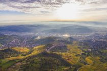 Germany, Baden-Wuerttemberg, Stuttgart, aerial view of Neckar Valley with vineyards — Stock Photo