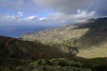 Spain, Canary Islands, La Gomera, Vallehermoso, View to Alojera from mountains above — Stock Photo