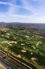 Spain, Mallorca, Flight to Palma de Mallorca over golf course — Stock Photo