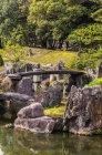 Япония, Киото, Замок Нидзё, Мост в замковом парке — стоковое фото