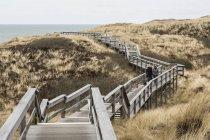Германия, Шлезвиг-Гольштейн, Силт, деревянный настил через дюны — стоковое фото