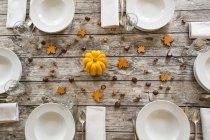 Puso la mesa con bellotas, castañas y calabaza amarilla de otoño - foto de stock