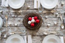 Laid served table with Christmas decoration — Stock Photo