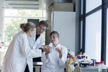 Tres químicos trabajando en un laboratorio químico - foto de stock