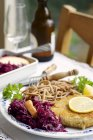 Tempeh schnitzel with red cabbage and wheat spaetzle — Stock Photo