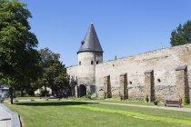 Німеччина, Рейнланд-Пфальц, Andernach, старовинну міську стіну з вежею — стокове фото