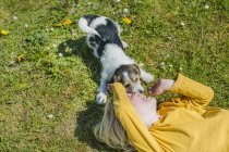 Boy playing with Jack Russel Terrier puppy on lawn in garden — Stock Photo