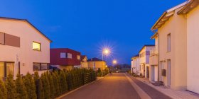 Germany, Ludwigsburg, development area, one-family houses at dusk — Stock Photo