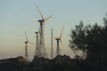 Spain, Andalusia, Tarifa, Wind farm in the evening light — Stock Photo