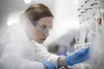 Cientista no laboratório trabalhando com líquidos — Fotografia de Stock