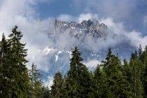 Австрия, высокие Альпы Альгау, мало Widderstein в тумане в дневное время — стоковое фото