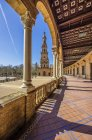 Spain, Andalusia, Sevilla, colonnade at Plaza de Espana — Stock Photo
