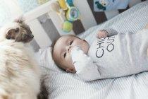 Bébé couché dans la crèche avec chat — Photo de stock