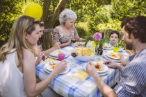Family of three generations at a garden party — Stock Photo