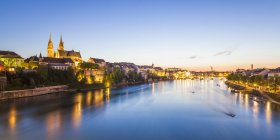 City view and Rhine at dusk, Basel, Switzerland — Stock Photo
