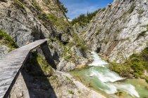 Autriche, Tyrol, Karwendel, vallée de Samer, Gleirsch gorge, Gleirschbach creek et chemin en bois — Photo de stock