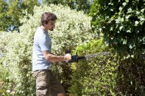 Young man pruning hedge with electric saw — Stock Photo