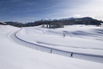 Німеччина, Reit im Winkl, засніжених Winklmoosalm з лижників — стокове фото