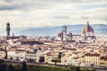 Italy, Tuscany, Florence, Aerial city view with Palazzo Vecchio and cathedral Santa Maria del Fiore — Stock Photo