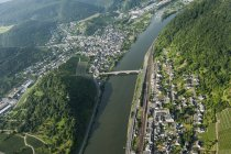 Germany, Rhineland-Palatinate, aerial view of Cochem with Moselle River — Stock Photo